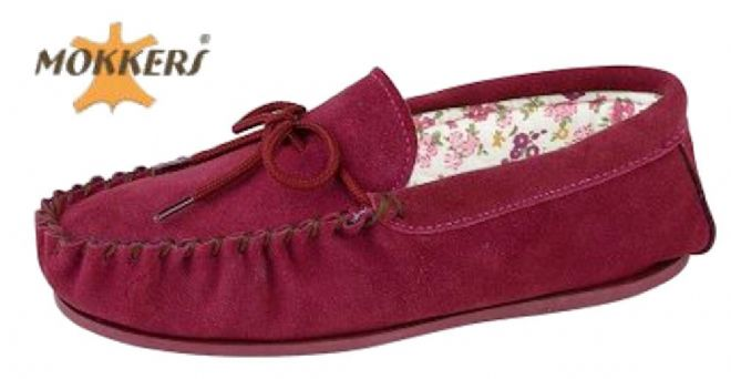 Ladies Real Suede Leather Moccasin with Hard-wearing Sole  CRIMSON